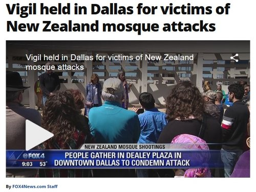 Fox4News reports on the vigil held for the victims of the NZ tragedy